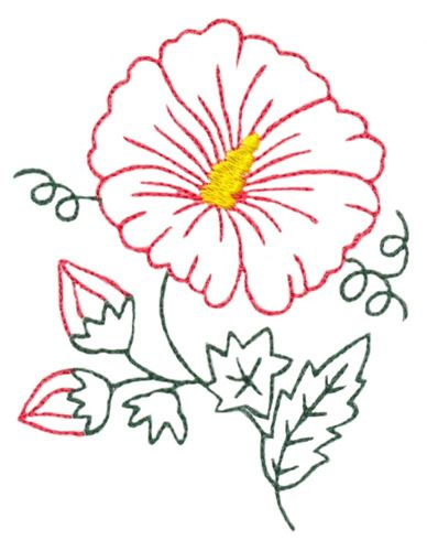 Hibiscus Flower Outline Embroidery Designs Machine Embroidery Designs At Embroiderydesigns Com Machine Embroidery Designs Flower Outline Embroidery Designs