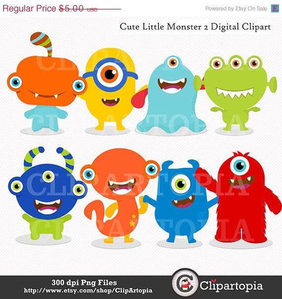 Cute Little Monster 2 Digital Clipart Monsters Party For Etsy Monster Clipart Cute Monsters Little Monster Party