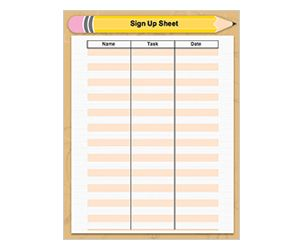 BackToSchool SignUp Sheet Get This Free Printable