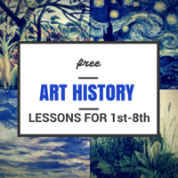 free Art History Lessons for Grades 1st-8th - 10 full lessons on famous artists, for each grade! #homeschool #art