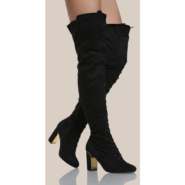 dab934d965d SheIn(sheinside) Faux Suede Gold Heel Thigh High Boots BLACK ( 47 ...