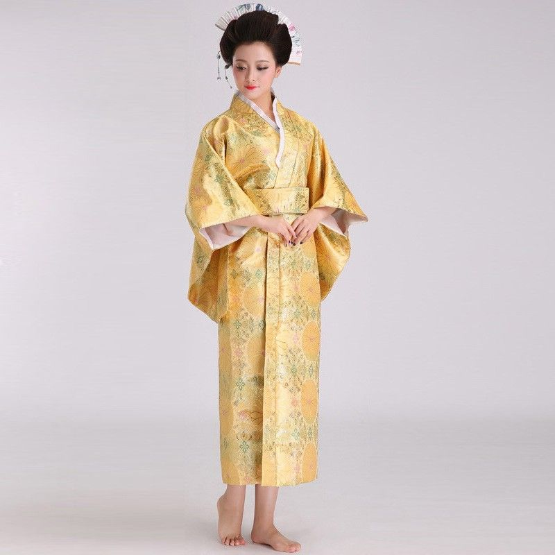 cc4aaf71c7 Traditional Yellow Japanese Kimono for Women with Mascot Print