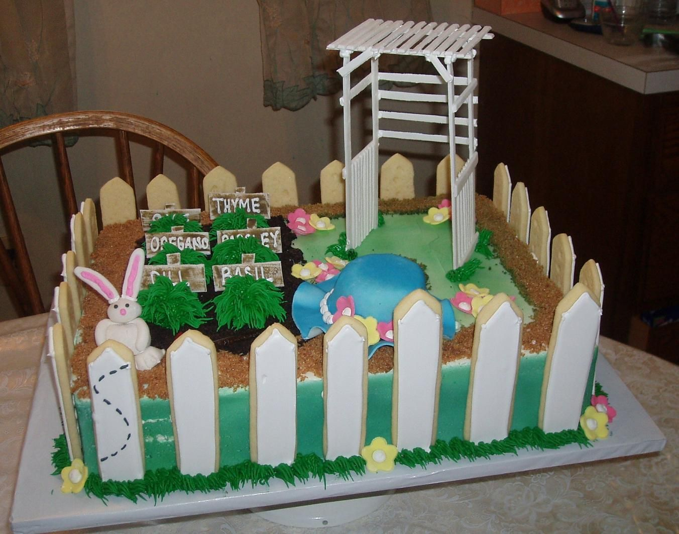 Herb Garden Themed Birthday Cake - Half Sheet cake decorated in an ...