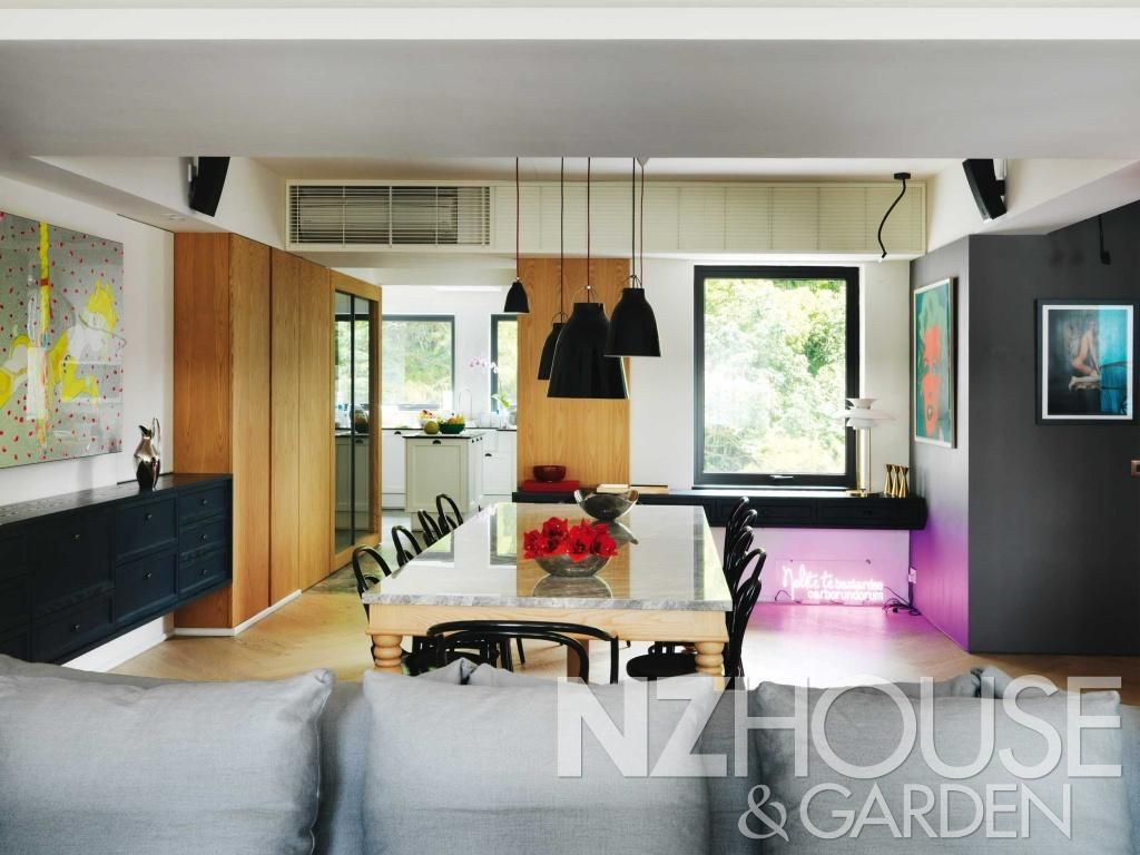 Open-plan kitchen, living and dining area in stylish Hong Kong ...