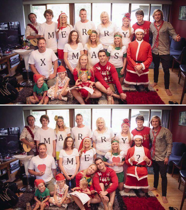 Kerl macht Familien-Weihnachtsfoto zu entzückendem Antrag   – wedded bliss.