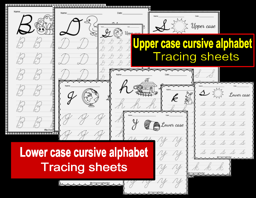Alphabet Upper And Lower Case Cursive Tracing Sheets