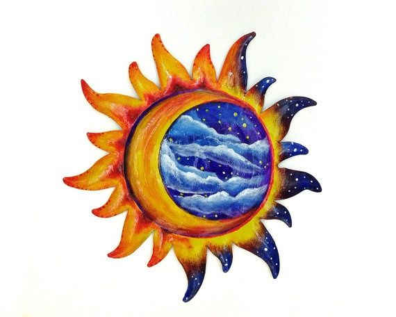 Sun And Moon Painted Wall Decoration Patio Decor Moon And Sun