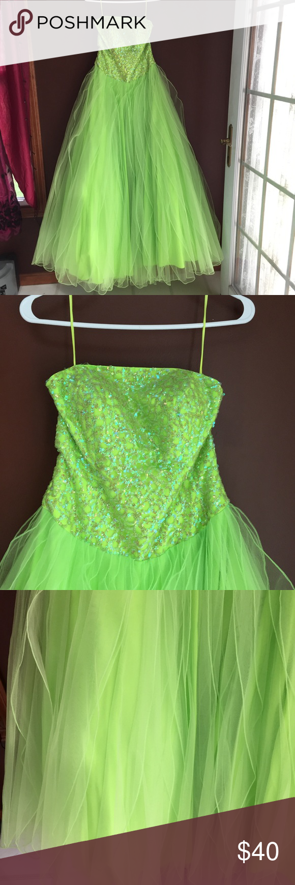 Neon green very full skirted princess dress neon green ball gowns
