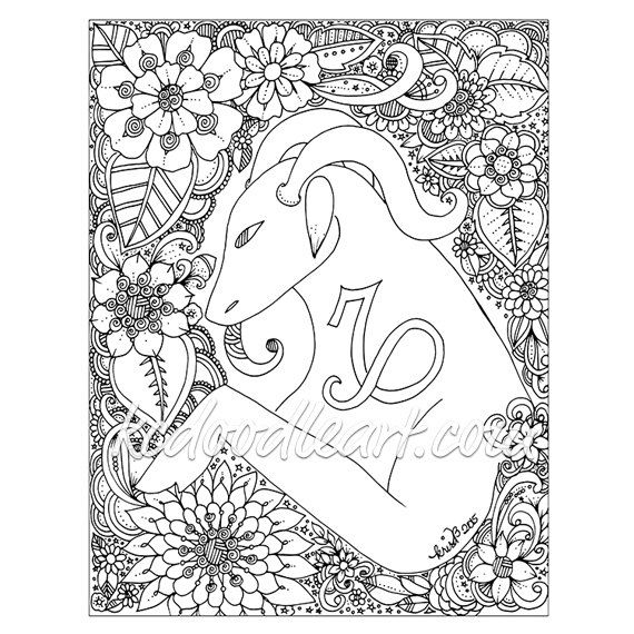 Adult coloring page astro sign capricorn adult for Capricorn coloring pages