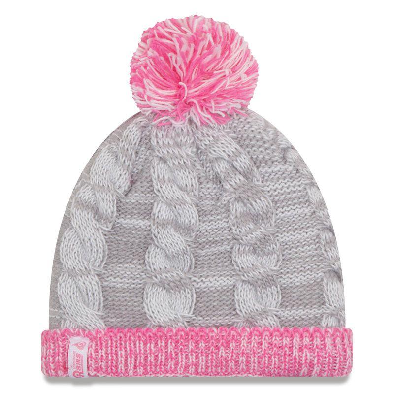 Los Angeles Rams New Era Girls Youth Snug Cuffed Knit Hat - Gray Pink 8aab8e41e