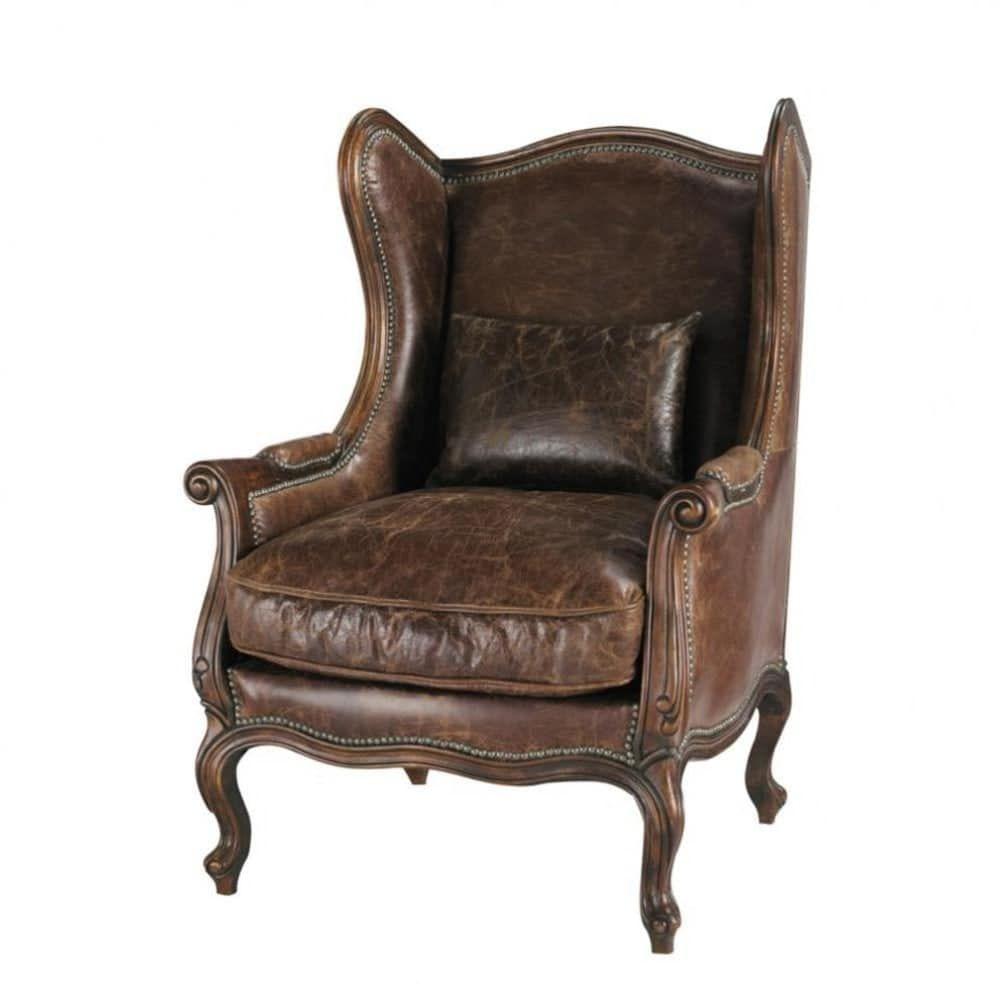 Lehnsessel Aus Leder Braun Armlehnen Sessel Und Ohrensessel