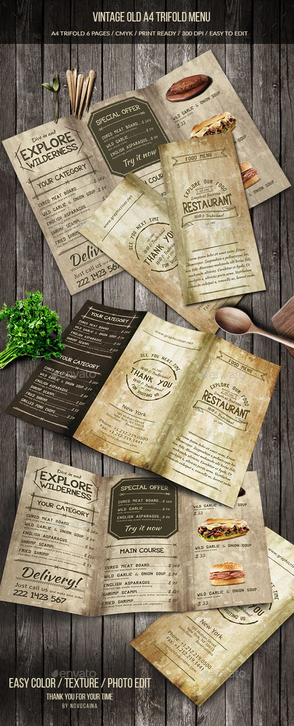 Vintage Old A Trifold Menu Menu Templates Menu And Template - Folded menu template