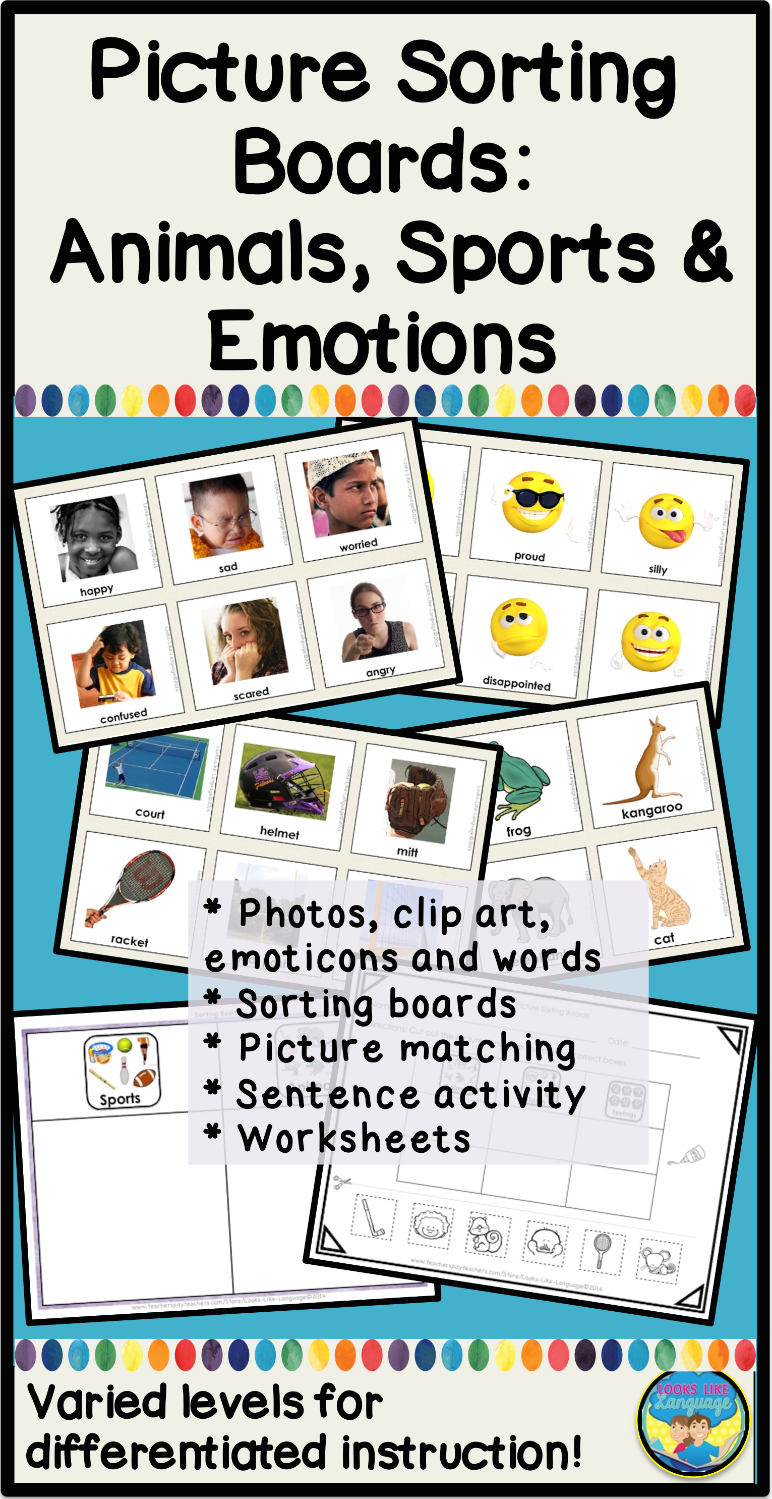 Category Picture Activities For Autism Sorting Animals Feelings And