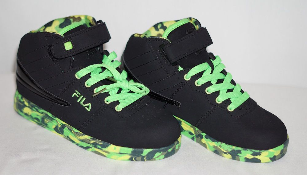 fea1c135075dc Fila Boys Black Green Camo Basketball Athletic Lace-up High-Top Shoes 3.5  NEW #FILA #BasketballShoes