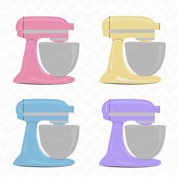 Kitchen Art 88: Stand Mixer, Kitchen Clip Art, Baking Clipart, Colorful