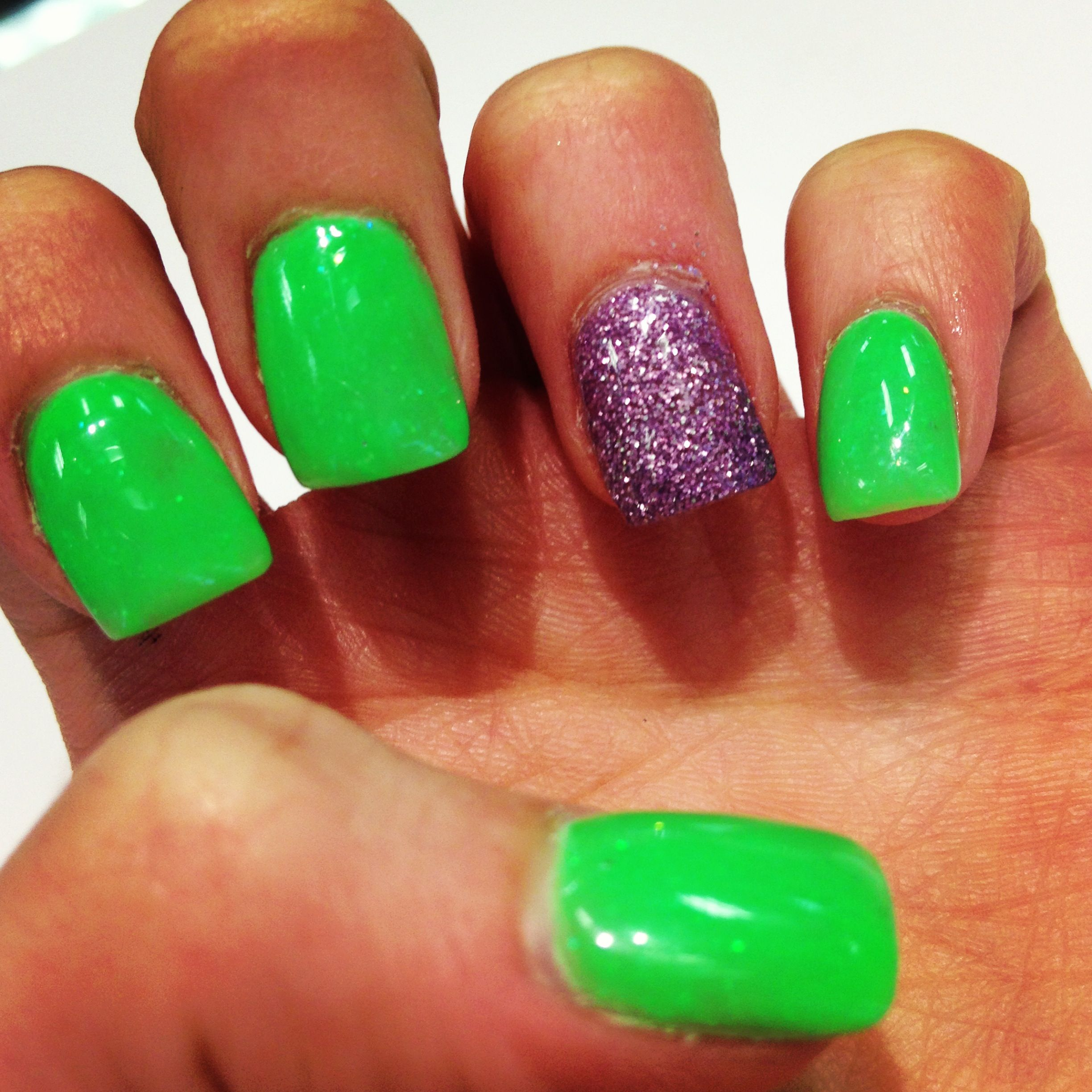 Lime green and glitter purple | Green nails, Nails, Purple ...