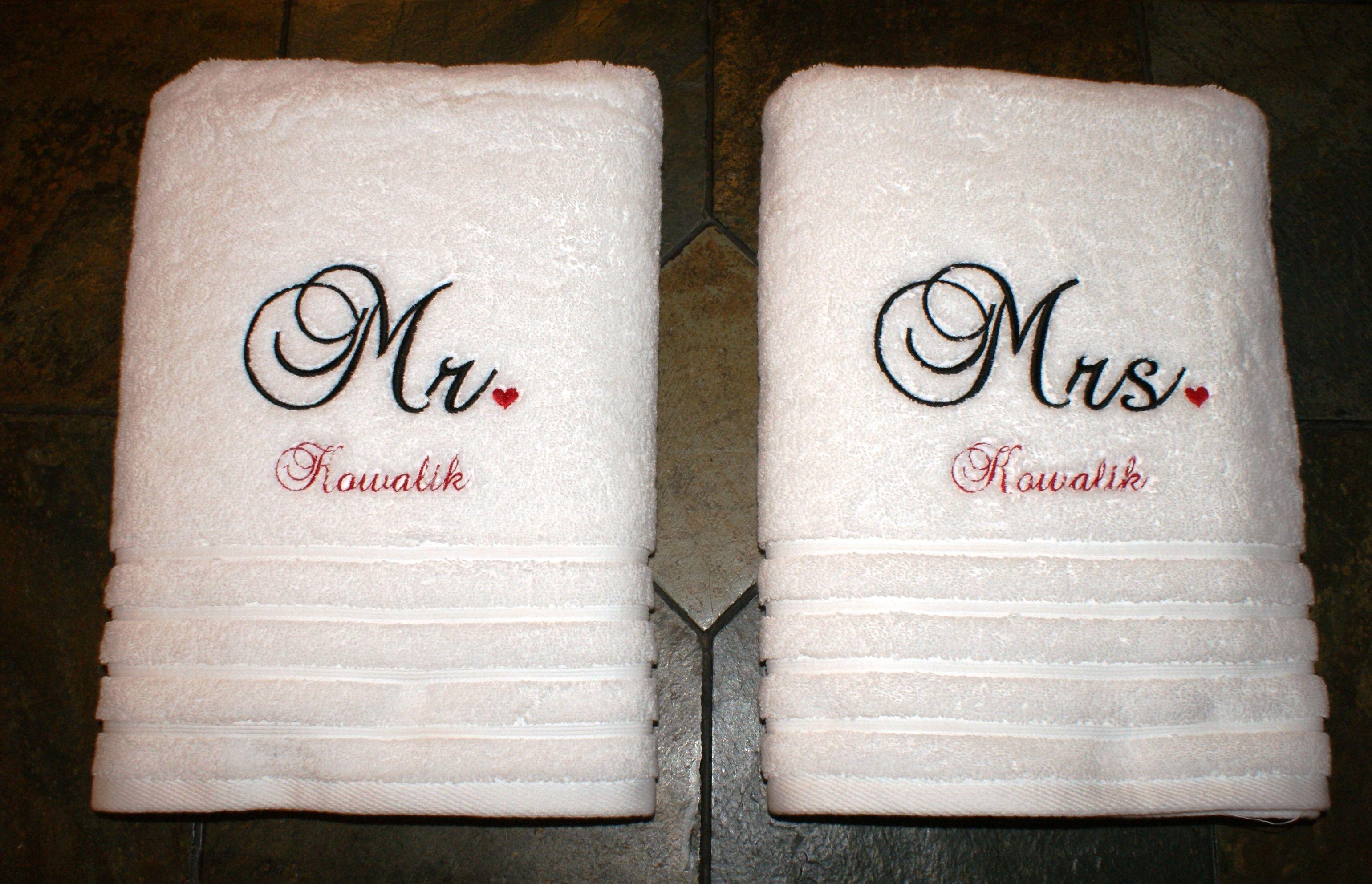 Monogram Wedding Gift Ideas: Bath Towels I Embroidered For Wedding Gift