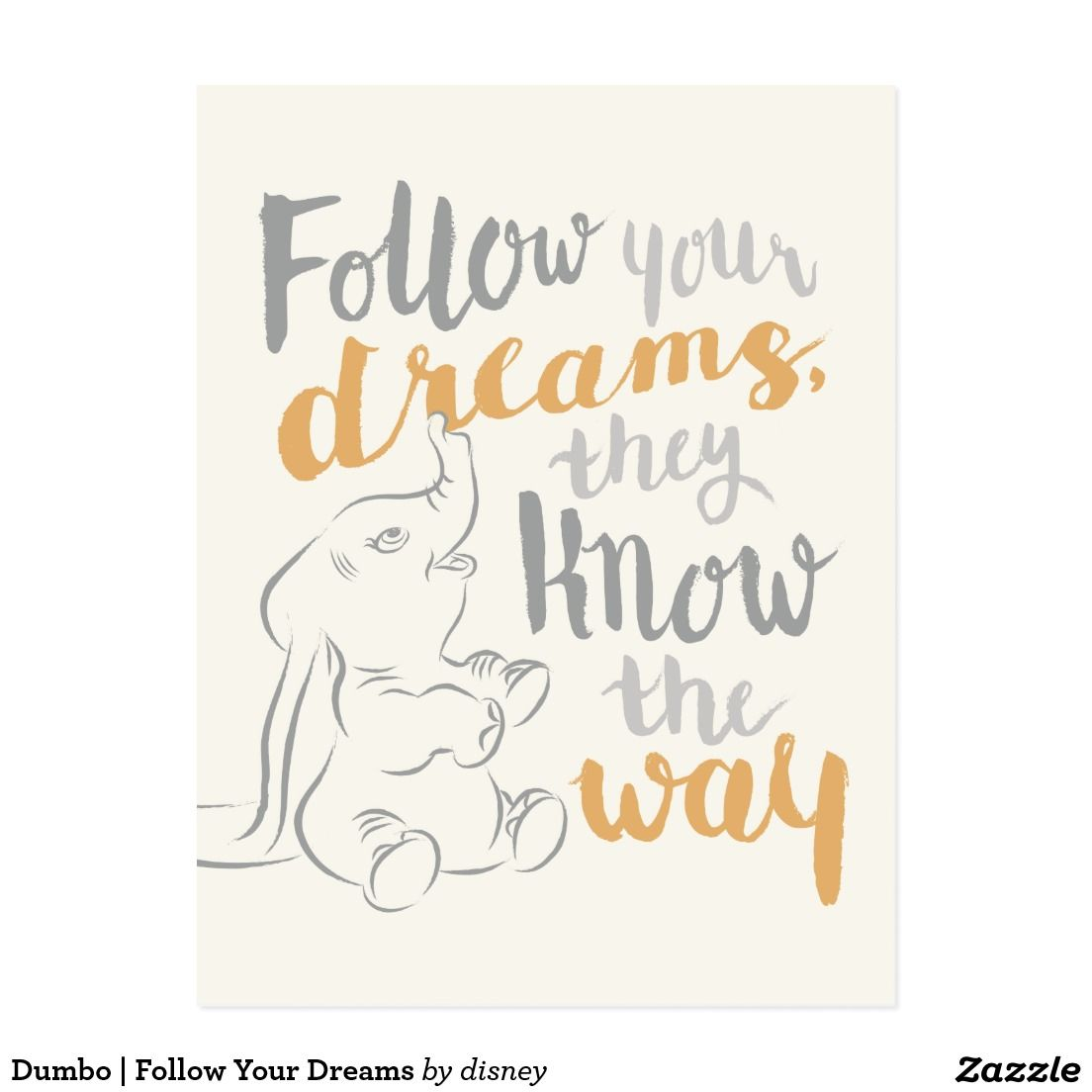 Quote Frame Not Included Dumbo Inspired Watercolour Poster Alternative TV//Movie Prints in Various Sizes