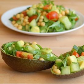 Summer Salad (avocado, cucumber, chickpeas, arugula) packed with flavours