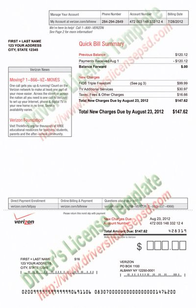 Verizon Utility Bill Psd Bill Template Bills Templates