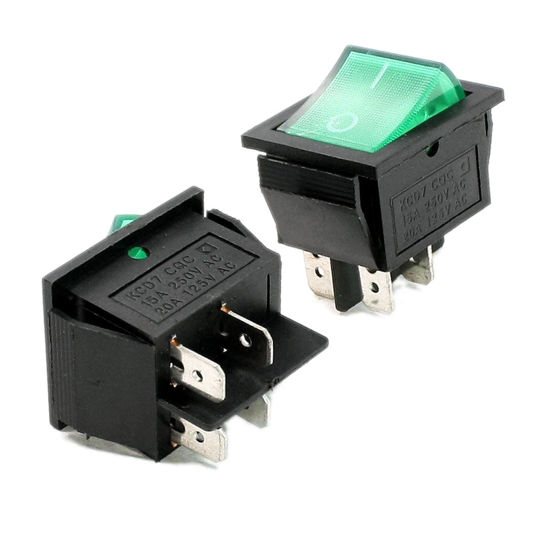 2 Pcs Green Illuminated Light On Off Boat Rocker Switch Ac 10a 250v 20a 125v Sodial Switch Rocker