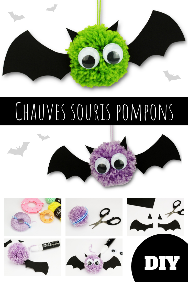 Chauves souris pompons - Halloween #diyhalloween