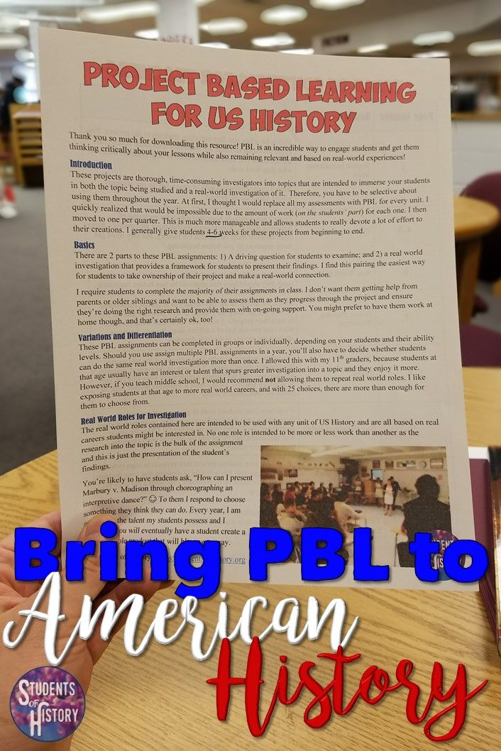 Photo of Project Based Learning Packet for ALL of US History