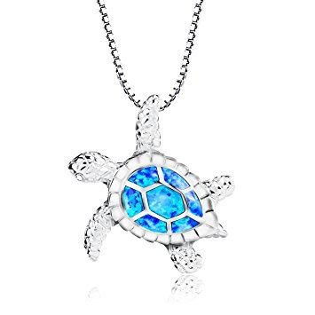 Turtle necklace morenitor silver plated blue opal sea turtle turtle necklace morenitor silver plated blue opal sea turtle pendant necklace jewelry gifts for women aloadofball Image collections