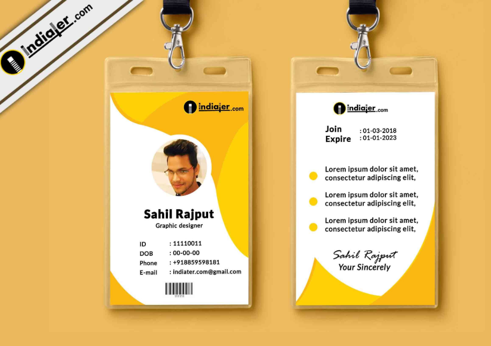 Multipurpose Corporate Office Id Card Free Psd Template Indiater For Company Id Card Design Template 1 Id Card Template Psd Template Free Card Templates Free