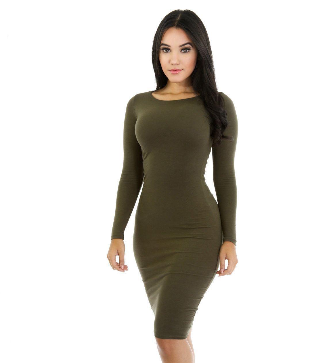 Simple fashion long sleeve cotton bodycon short dress stylez