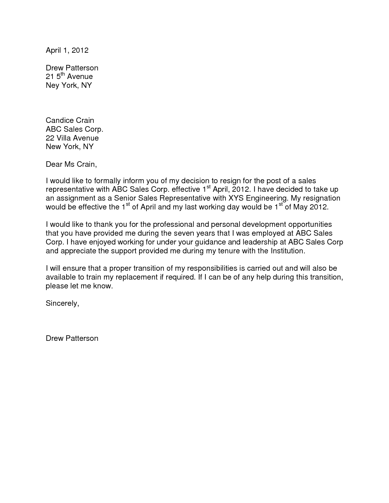 formal resignation letter 1 month notice Google Search