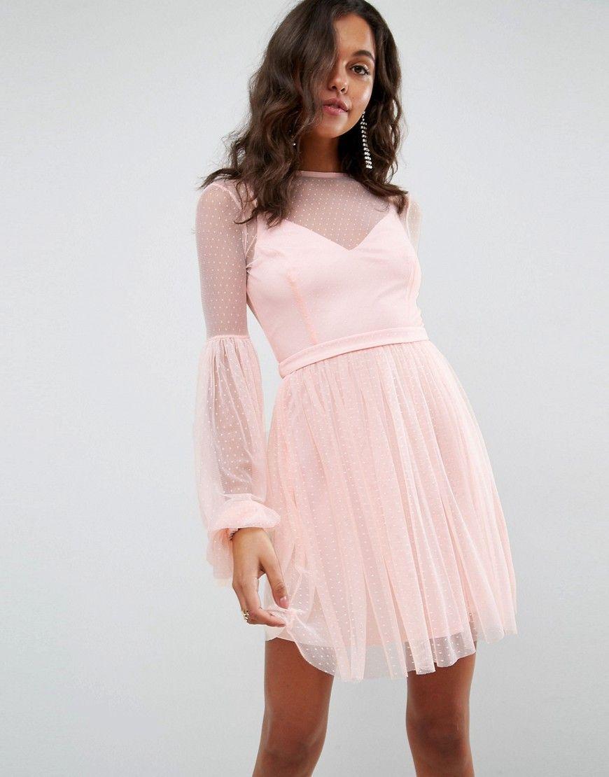 Asos dobby mesh balloon sleeve mini dress pink บดเดรส