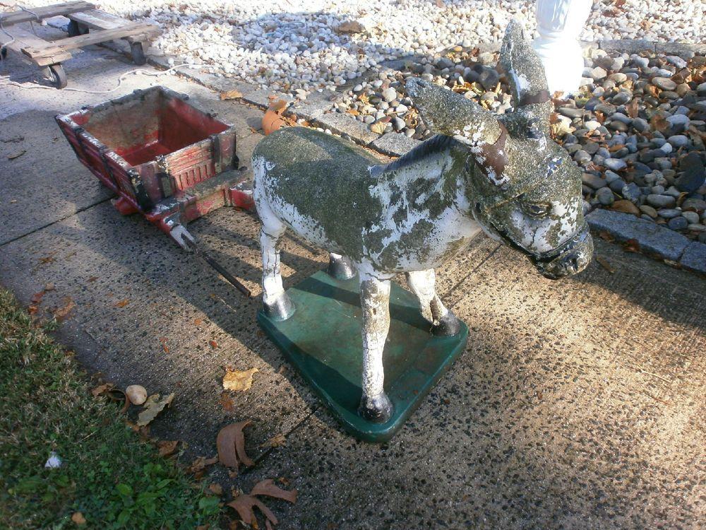 Vintage Donkey Burro And Cart Planter Concrete Yard Garden Decor Antique  Cement