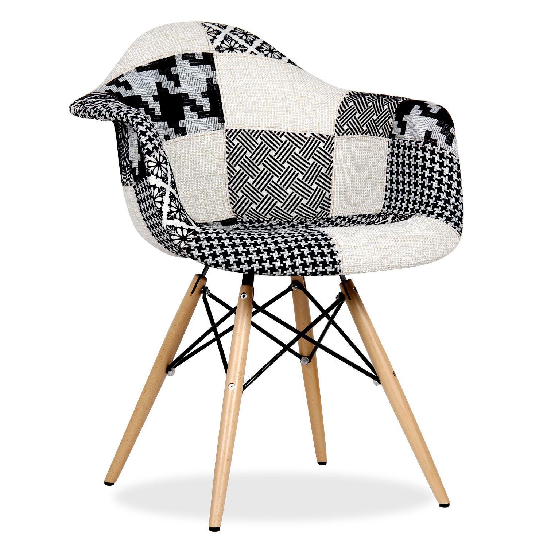 chaise wooden arms patchwork edition pepy noir et blanc chaises iconiques design daw d co. Black Bedroom Furniture Sets. Home Design Ideas