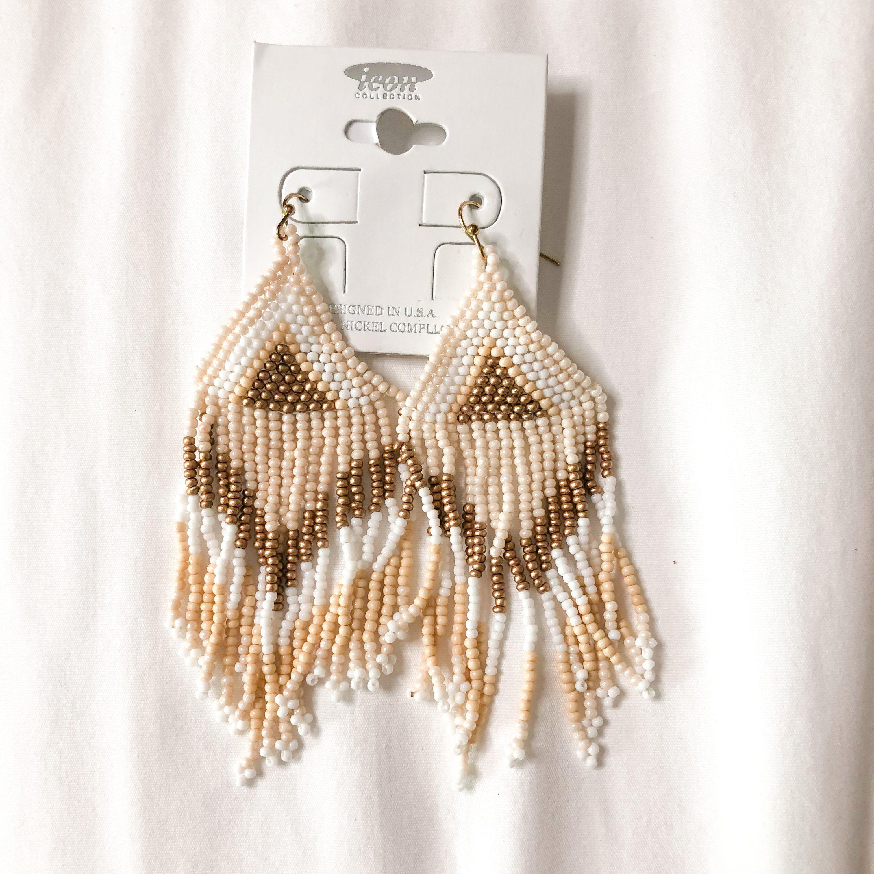 Ivory Fringe Beaded Earrings