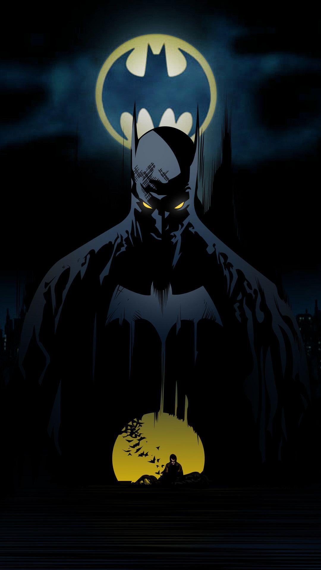Batman Behind Bat Signal Mobile Wallpape Wallpapers