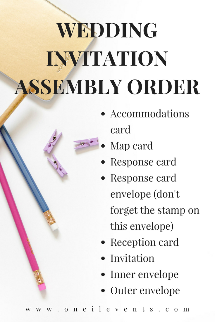Wedding Invitation ETIQUETTE - Wedding Invitation Assembly Order ...