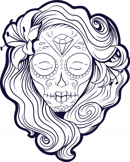 Sugar Skull Girl Coloring Page Download Day Of by enrightemporium ... | 626x500