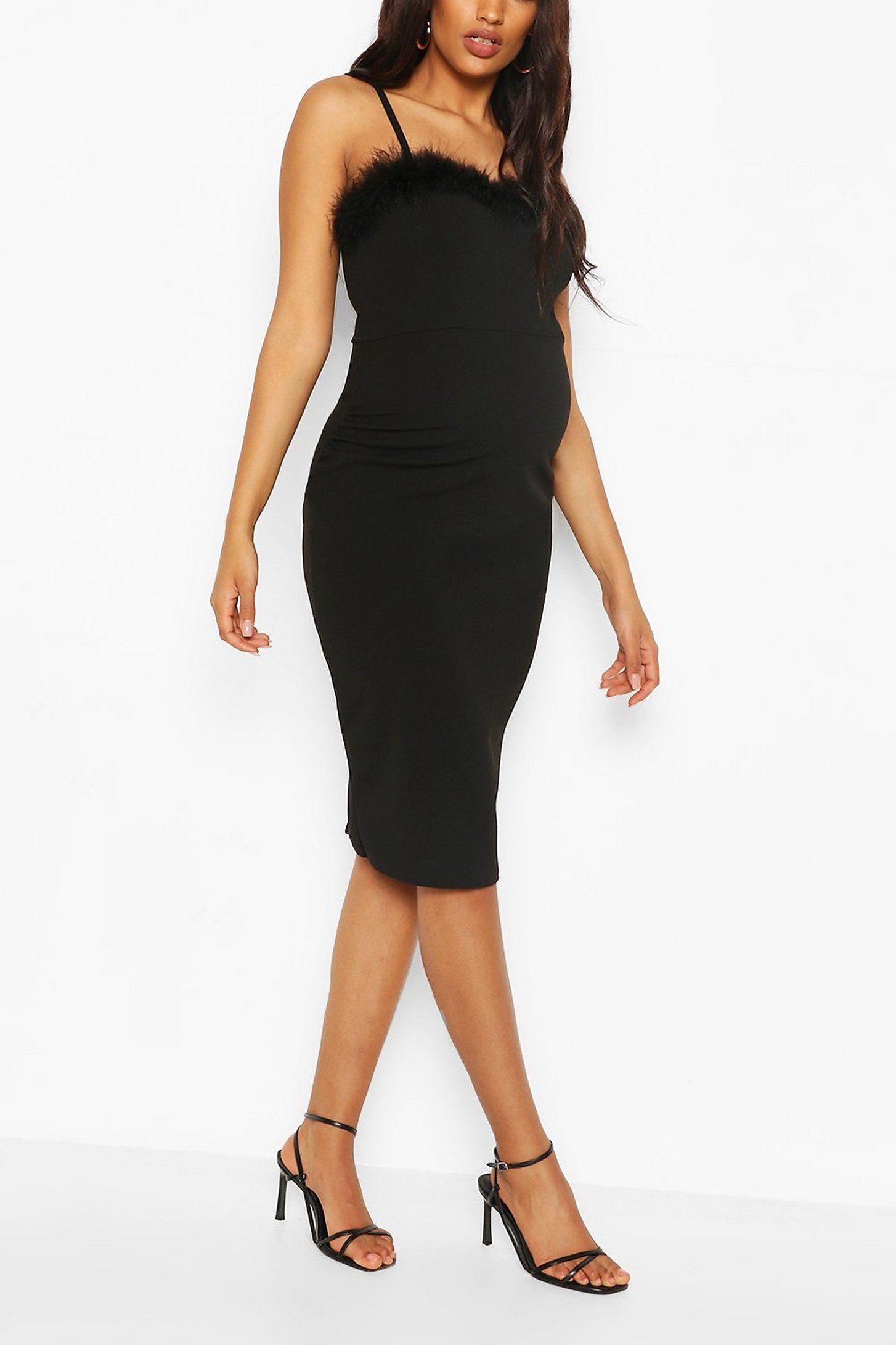 Maternity Feather Trim Midi Bodycon Dress Boohoo Bodycon Dress Black Bodycon Dress Midi Dress Bodycon [ 2181 x 1454 Pixel ]