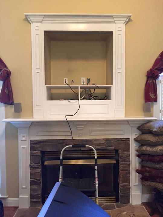 Make That Outdated Hole Above Fireplace Vanish By Installing A Flat Screen Tv Covering It Custom Mounting Over Niche Charlotte Fort Mill