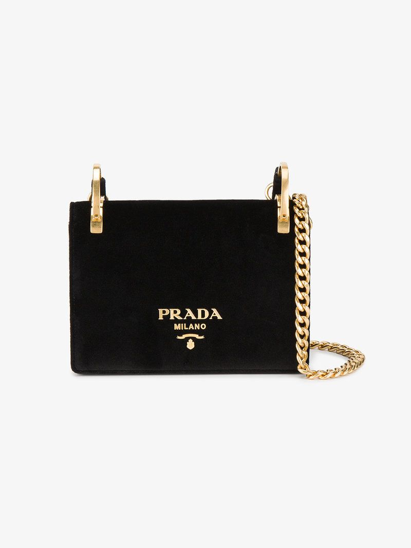 3b3e1232083c7a PRADA VELVET PATTINA BAG WITH GOLD CHAIN. #prada #bags #shoulder bags # leather #velvet #lining #