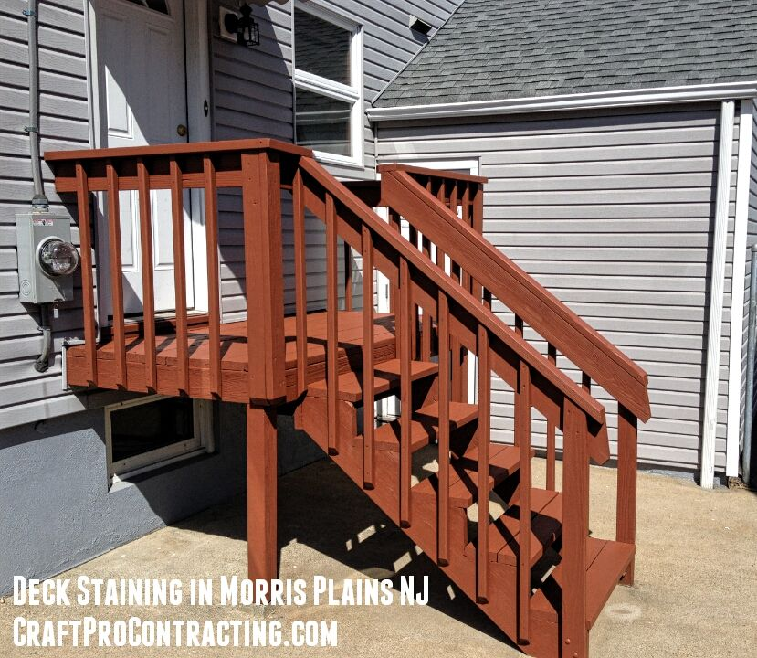 Morris Plains NJ 07050 Porch Refinished Stained by CraftPro