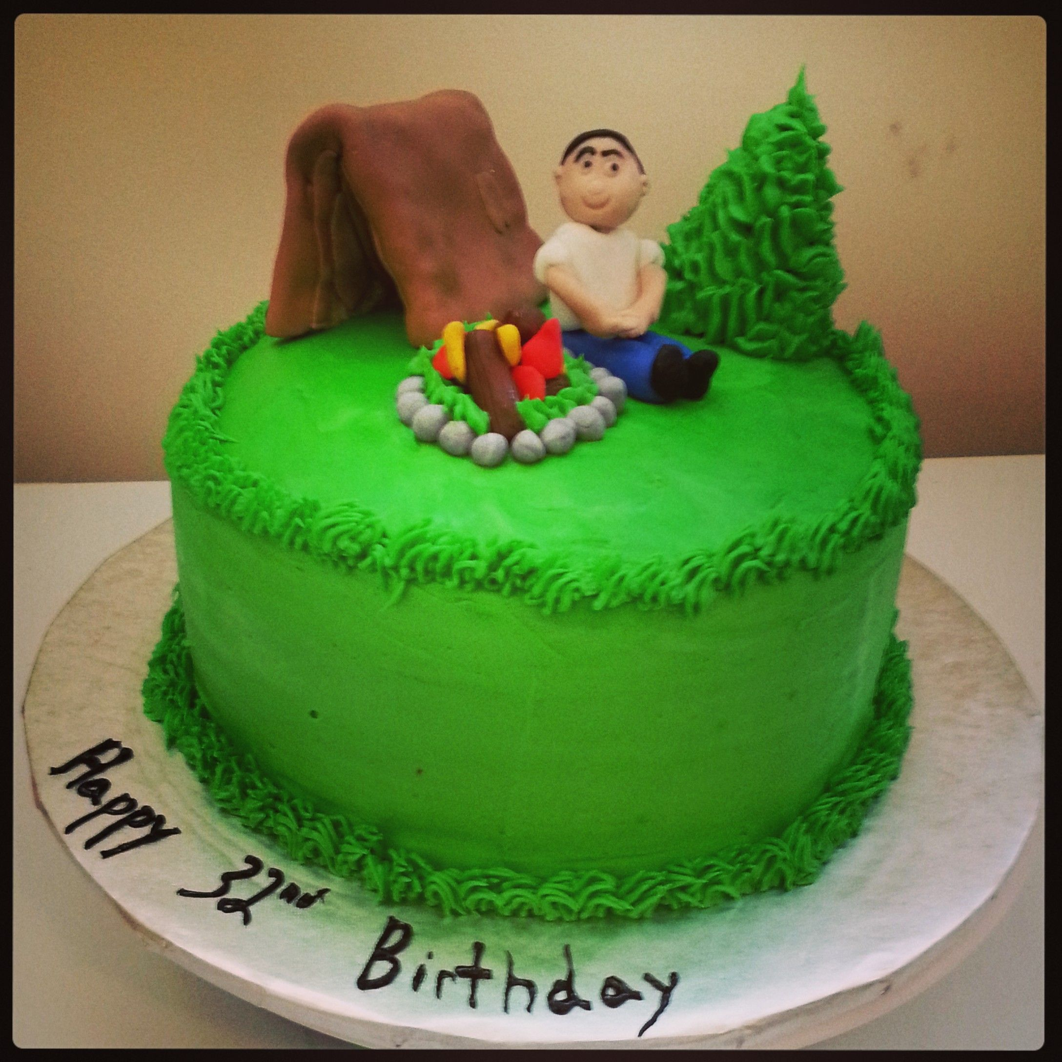 Terrific Camping Birthday Cake Camping Birthday Cake Cake Birthday Cake Personalised Birthday Cards Cominlily Jamesorg