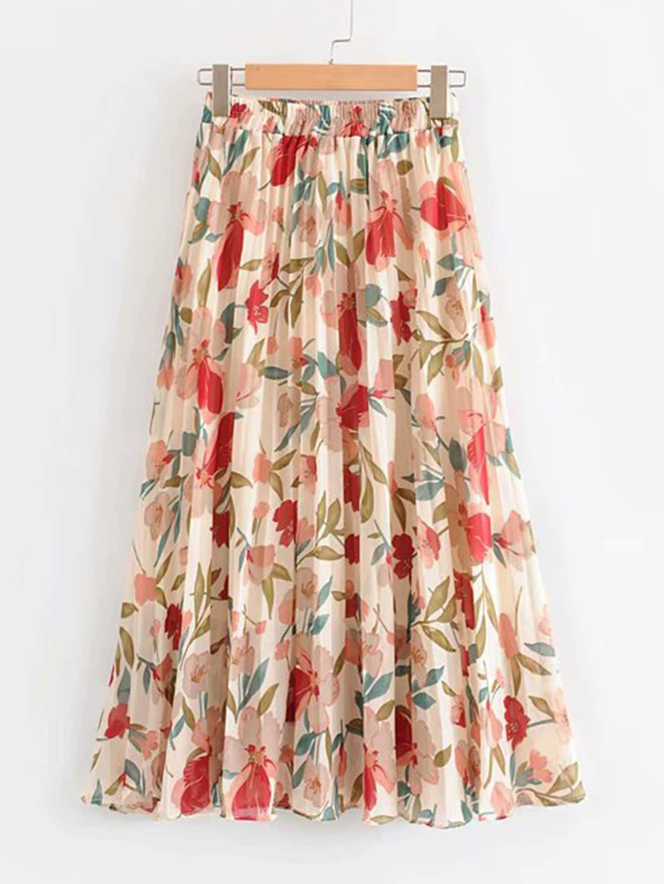 Floral Print Pleated Chiffon Skirt