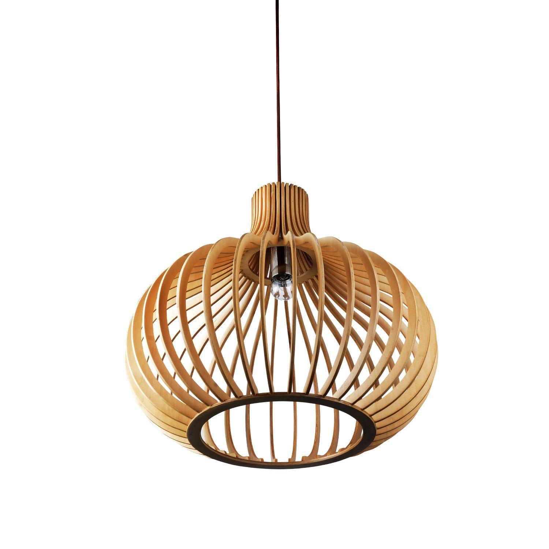 Lampe originale de suspension abat jour en bois de hªtre naturel