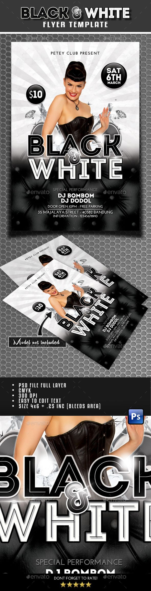 Black And White Flyer  Flyer Template Font Logo And Fonts