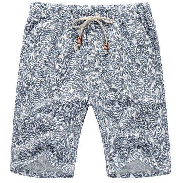 Mens Shorts Beach Knee length Shorts Fashion Printed Plus size Lace up