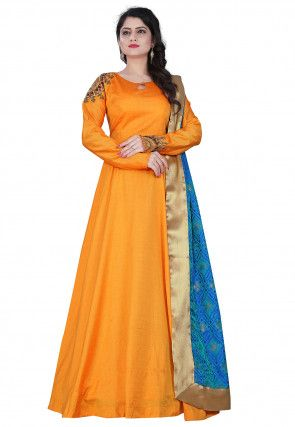 d7e9d584e1 Hand Embroidered Art Silk Abaya Style Suit in Light Orange Latest Salwar  Kameez, Salwar Suits