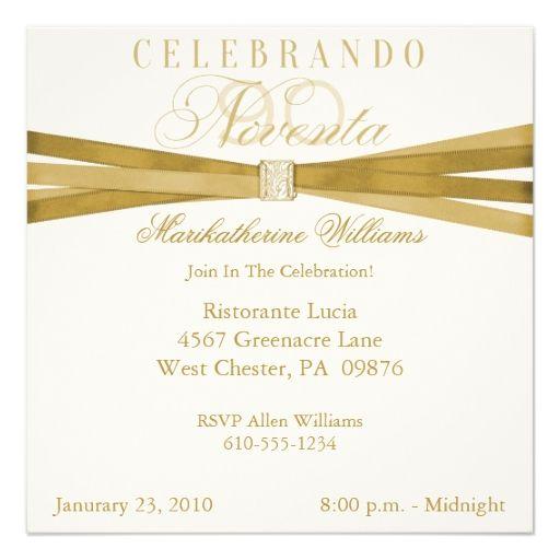 Spanish Elegant 90th Birthday Party Invitations