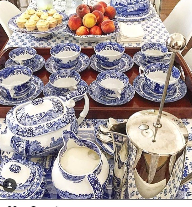 A beautiful tea tablescape featuring Spode Blue Italian! Thank you for sharing @houseofelliot #spodeblue200 #tablescapethursday